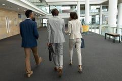 executivos Multi-étnicos que interagem um com o otro ao andar no assoalho do escritório imagens de stock royalty free