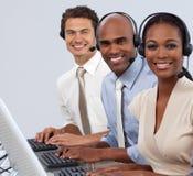 Executivos Multi-ethnic em uma linha fotografia de stock royalty free