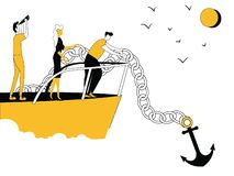 Executivos no barco com âncora ilustração stock