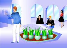 Executivos no quarto de reunião ilustração royalty free