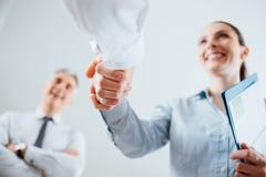 Executivos que agitam as mãos imagens de stock