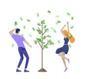Executivos que comemoram a vitória Posição da equipe do negócio sob a chuva do dinheiro Estilo dos desenhos animados, ilustração  ilustração stock