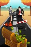Executivos que correm na estrada que alcança um objetivo Foto de Stock Royalty Free