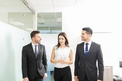 Executivos que discutem ao andar junto no escritório imagens de stock royalty free