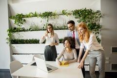 Executivos que discutem uma estratégia e que trabalham junto dentro de Fotos de Stock Royalty Free