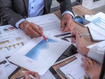 Executivos que encontram-se para discutir a situação no mercado imagens de stock royalty free