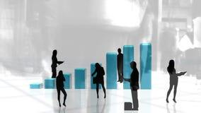 Executivos que estão contra a ilustração de gráficos de barra ilustração stock