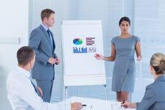 Executivos que fazem a apresentação das estatísticas Foto de Stock