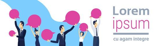 Executivos que guardam a fêmea masculina da conversação vazia da bolha do bate-papo da mulher do homem de negócio do conceito de  ilustração stock