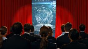 Executivos que olham uma tela com uma esfera filme