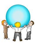 Executivos que prendem a esfera azul ilustração do vetor