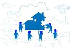 Executivos que resolvem o enigma que faz casa a construção para dirigir a garatuja horizontal do esboço do processo do funcioname ilustração royalty free