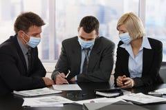 Executivos que temem o vírus h1n1 Fotos de Stock