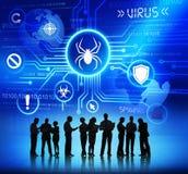 Executivos que trabalham e conceitos do vírus imagem de stock royalty free