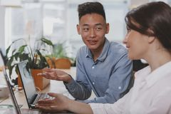 Executivos que trabalham junto no escrit?rio fotos de stock royalty free