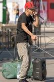 Executor da rua de Beatbox em Milan Italy imagens de stock