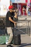 Executor da rua de Beatbox - Milan Italy fotografia de stock royalty free