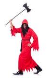 Executor no traje vermelho com machado Fotografia de Stock