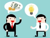 Exekutive und Geschäftsmann tauschen Idee aus, Geld zu verdienen Lizenzfreie Stockbilder