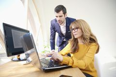 Exekutivgeschäftsfrau und junger Finanzassistent Lizenzfreies Stockbild