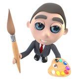 Exekutivgeschäftsmanncharakter der lustigen Karikatur 3d, der einen Pinsel und eine Palette hält Stockbild