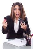 Exekutivschreibtisch mit Make-upbürsten Lizenzfreies Stockfoto