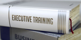 Exekutivtraining - Geschäfts-Buch-Titel 3d stockfoto