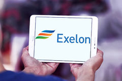 Exelon energy company logo. Logo of energy and home services company exelon on samsung tablet royalty free stock photos