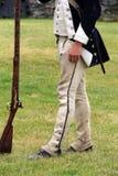 Exempel av brunn-montering gaitor-byxa som göras av hampa, för soldater i amerikansk revolution, fort Ticonderoga, New York, somm Royaltyfri Bild