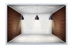 Exempel av tomt rum med tegelstenväggen royaltyfri illustrationer