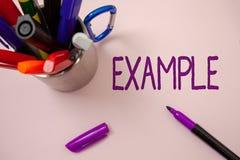 Exempel för handskrifttexthandstil För illustrationprövkopia för begrepp menande modell som till exempel följer den vita backgroe royaltyfri foto