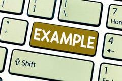 Exempel för ordhandstiltext Affärsidé för att illustrationprövkopiamodellen till exempel ska följa handbokförklaring fotografering för bildbyråer