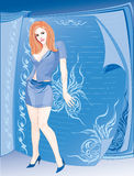 Exemplaar-bookgirl-kopiër Vector Illustratie