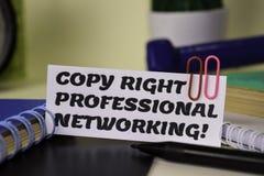 Exemplaar Juist Professioneel Voorzien van een netwerk? op het document dat op het bureau wordt geïsoleerd Bedrijfs en inspiratie royalty-vrije stock fotografie