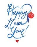 Exemplaar van het de illustraties het Gelukkige Nieuwjaar van waterverfkerstmis Thema van het de winter het nieuwe jaar royalty-vrije illustratie