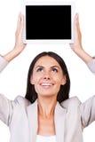 Exemplaarruimte op haar tablet Stock Afbeeldingen