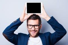 Exemplaarruimte op zijn tablet Royalty-vrije Stock Foto