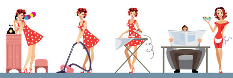 Exemplary housewife, good wife, scrubwoman, ironing, vacuum cleaner, duster Royalty Free Stock Images