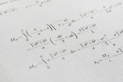 Exemple avancé de maths images stock
