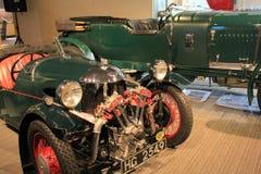 Exemple du trois-roues de Morgan, montré sur le plancher d'étalage, musée d'automobile de Saratoga, 2015 Photos stock