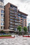 Exemple typique d'architecture scandinave - Aker Brygge, Oslo Images stock