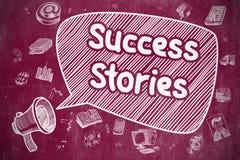 Exemples de succès - illustration tirée par la main sur le tableau rouge Photos stock