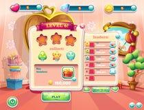 Exemplet av användargränssnittet avskärmar början av en ny nivå av dataspelar Royaltyfria Foton