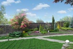 Exemplet av mång- jämnt arbeta i trädgården, 3D framför Royaltyfri Bild