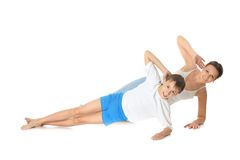 Exercício da mãe e do filho fotos de stock royalty free