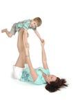 Exercício da mamã e da criança fotos de stock royalty free