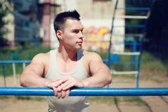 Exercício da rua, vista do desportista do retrato Imagens de Stock