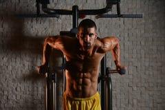 Exercício das barras paralelas para o tríceps e a caixa foto de stock