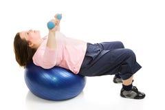 Exercício de Pilates com pesos Fotografia de Stock Royalty Free