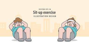 Exercício do abdominal no vetor da ilustração do fundo da cidade no amarelo Fotografia de Stock Royalty Free